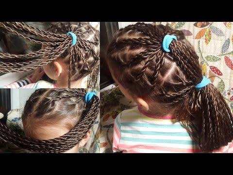Много косичек. 44 жгута и 4 прически // Lots of little rope braids