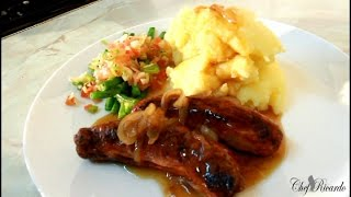 Mashed Potato Served With Sausage And Gravy [Caribbean Chef] | Recipes By Chef Ricardo