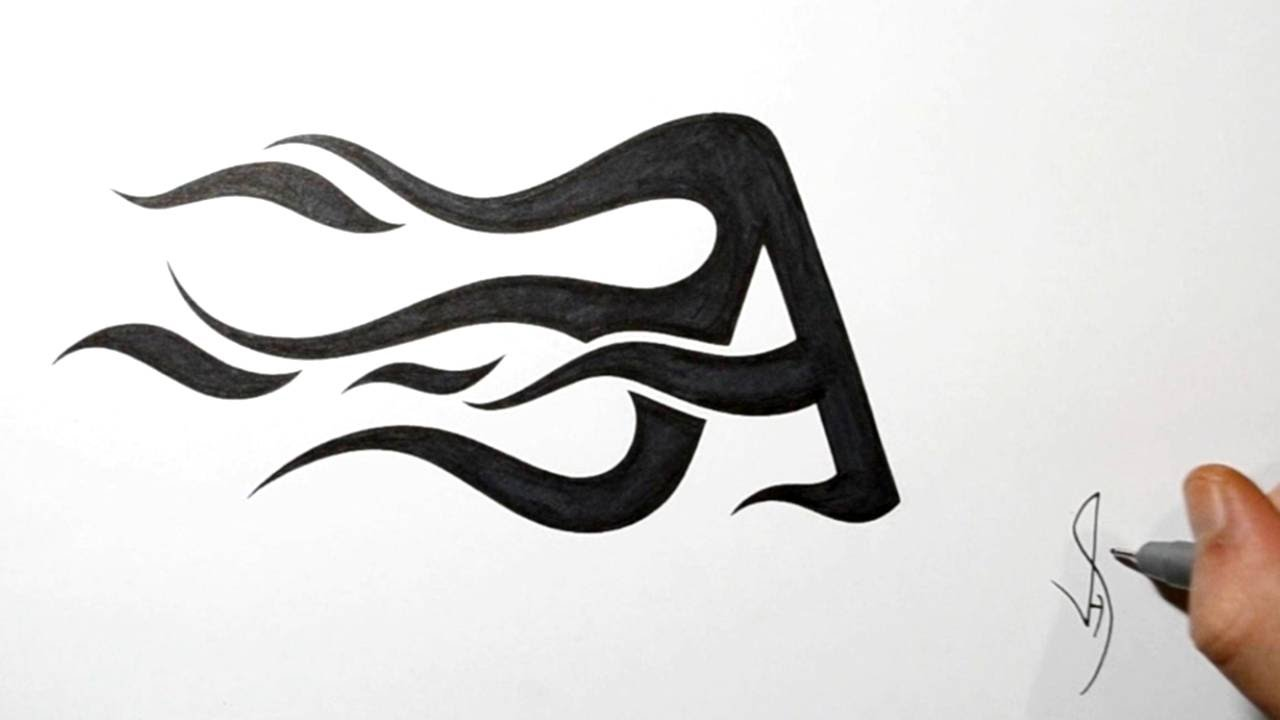 how to draw flame fire letters capital a youtube