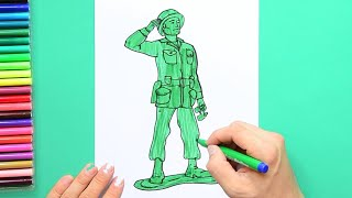 How to draw and color Sergeant from Toy Story