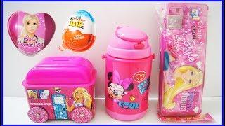 Surprise Kinder Joy Egg Barbie Egg Barbie Pencil Box Bus Minnie Bottle Learn Colors Nursery Rhymes