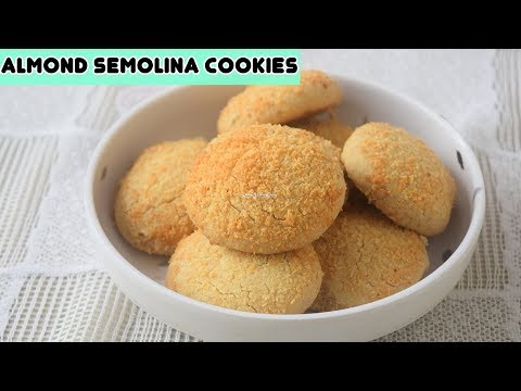 Almond Semolina Cookies - Wheat Flour & Badam Nankhatai Recipe - गेहू, रवा और बादाम की नानखटाई