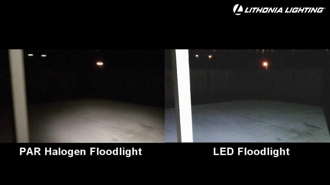 led security floodlights lithonia lighting vs standard floodlight lesco lighting houston youtube