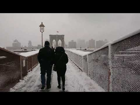 Walking on and across the Brooklyn Bridge during first Snow Fall Winter 2017 - Manhattan to Brooklyn