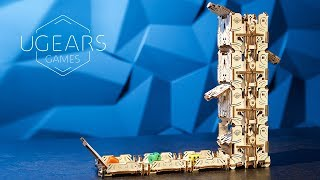 Modular Dice Tower | Mechanical Wooden Device for Tabletop Games | Ugears Games Collection