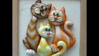 Коты и кошки из соленого теста