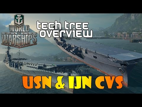 World of Warships - Tech Tree Overview - USN and IJN CVs