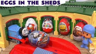 Thomas And Friends Surprise Eggs In The Sheds Pocoyo Play Doh Kinder Avengers Disney Cars Toys
