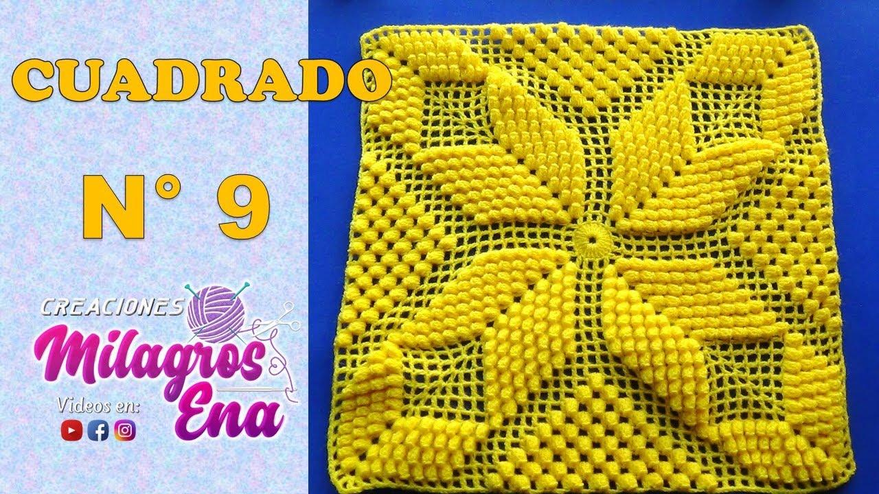 Cuadrado o muestra estrella popcorn a crochet paso a paso - Como hacer colcha de ganchillo ...