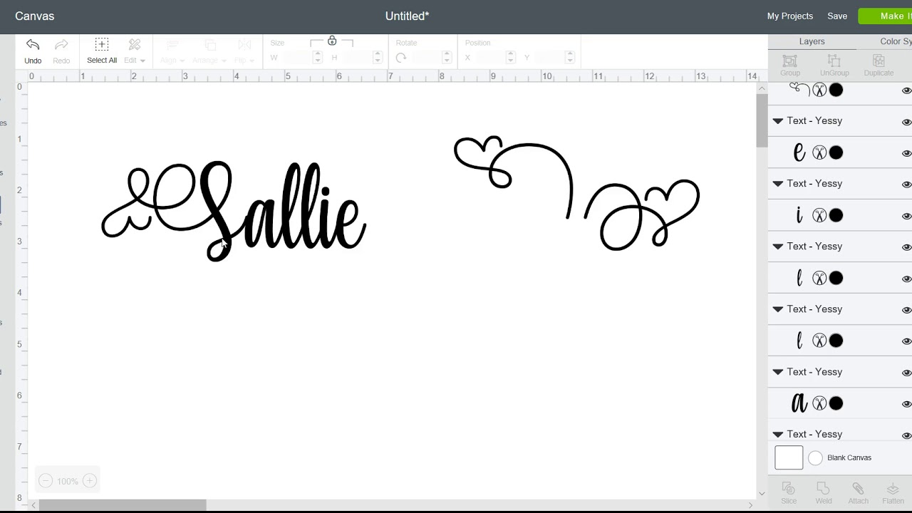 Yessy Font - quick guide to turning the heart - Cricut Design Space