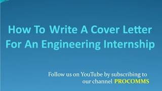 Cover Letter for Engineering Internship | How To Write a Cover Letter For An Engineering Internship