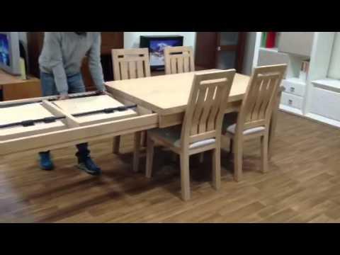 Mesa de dos extensiones de madera maciza con patas - Tableros de madera maciza para mesas ...
