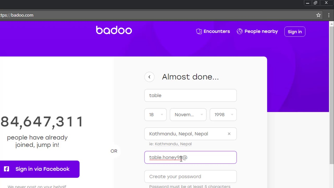 Badoo new account
