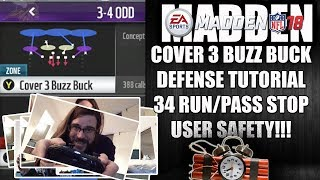 MADDEN 18 34 COVER 3 BUZZ BUCK DEFENSE TUTORIAL - RUN AND PASS STOP