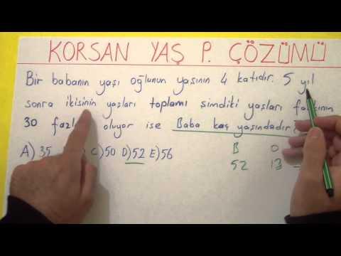 Korsan Yolla Yaş Problemi çözümü - şenol Hoca Şenol Hoca Matematik