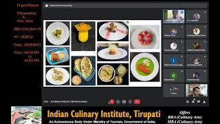 Mr Sathya Keerthi; a student of Indian Culinary Institute, Tirupati presenting his UG project report