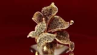 Бижутерия Со Сваровски Кольцо Бабочка на коричневом цветке Low