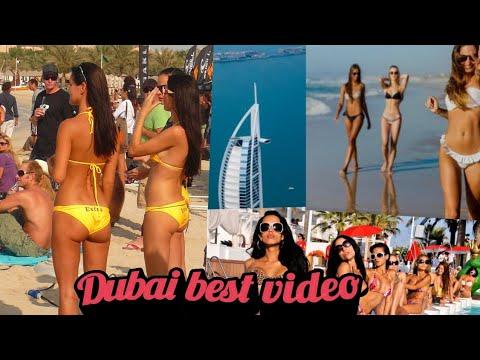 Beach in Dubai . Jumeirah Beach in Dubai. Dubai City video 2019 . Public beach