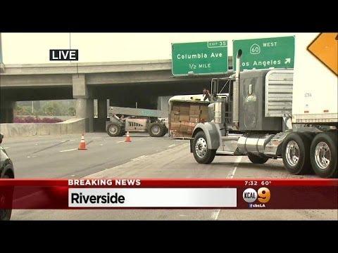 Overturned Semi-Truck Blocks Eastbound 91 Freeway In Riverside