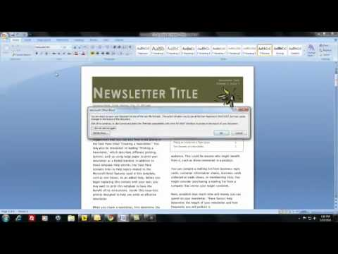how do i create and distribute a newsletter using ms word youtube
