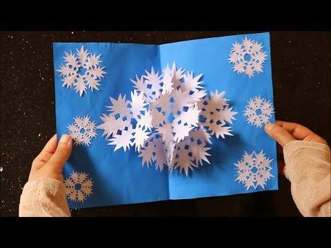 3D Snowflake Pop up Card 4- DIY Paper Craft -Handmade Card