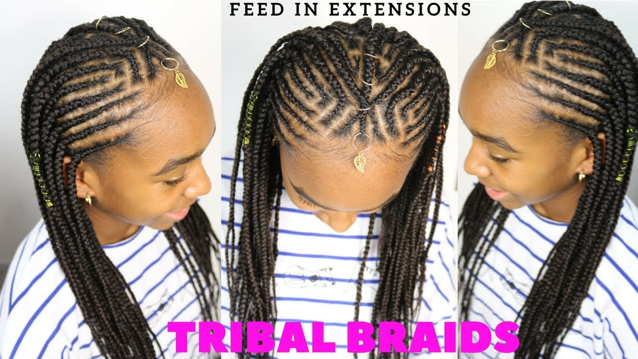 TRIBAL BRAIDS & CORNROWS TUTORIAL | KIDS BRAIDED ...
