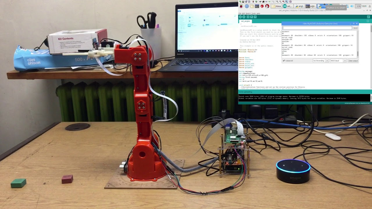 Voice control robotic arm joints' angles