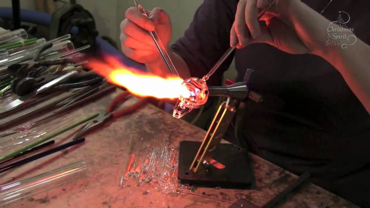 Maine Glass Artist Making Hand Formed And Hand Blown Glass Ornaments