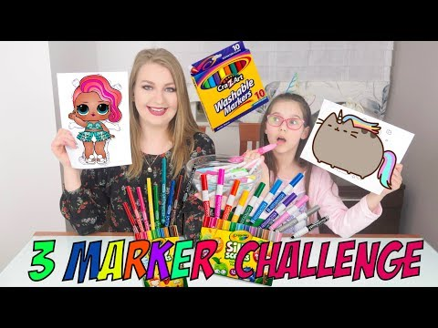 ♥ 3 MARKER CHALLENGE Z PANNĄ JOANNĄ PUSHEEN I LOL SURPRISE | Pusheen Girl