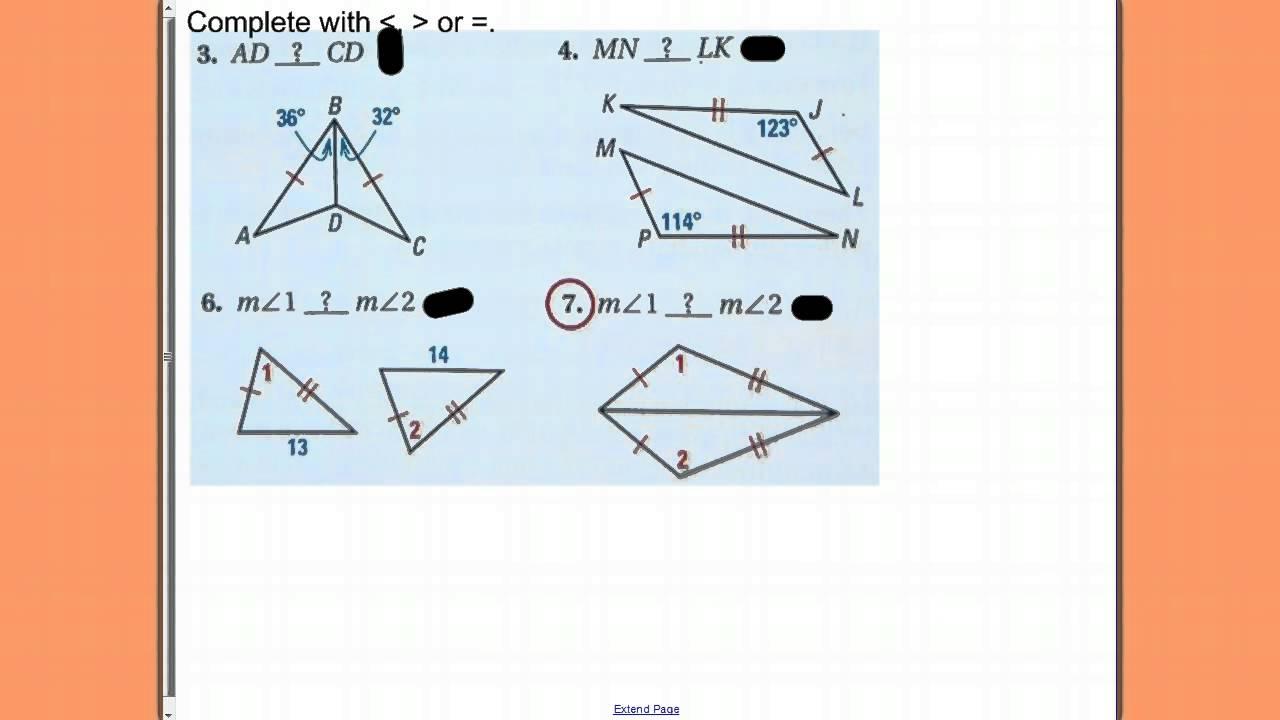worksheet Hinge Theorem Worksheet adv geometry 5 6 hinge theorem youtube theorem