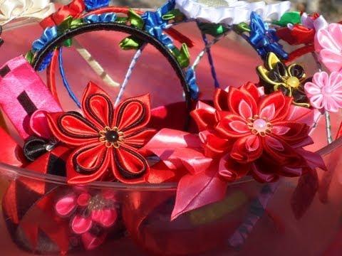 Hand Made  Канзаши Украинские цветы Японской техникой Канзаши
