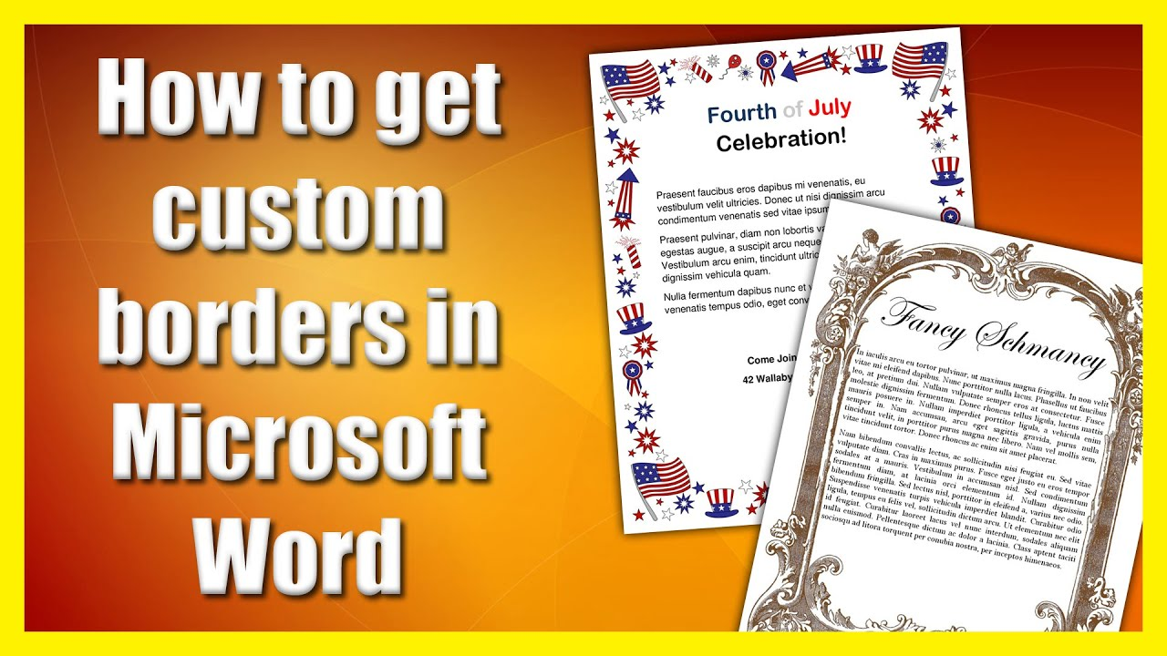 how to get a custom border in microsoft word
