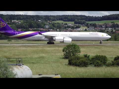 Thai A340-600 Takeoff Zurich Runway 16 to Bangkok