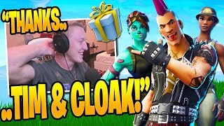 Tfue OPENS his GIFTED SKINS from Cloak, Timthetatman & Symfuhny (Male Powerchord) Fortnite