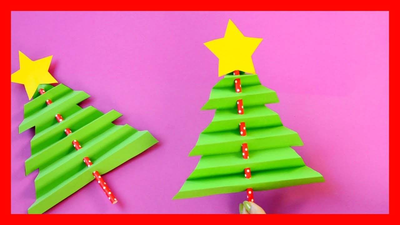 Christmas Crafts For Kids.Accordion Paper Christmas Tree Fun Christmas Crafts For Kids