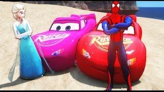 Человек паук комиксов Marvel и Эльза Снежная королева и Молния МакКуин и розовый Автомобили Маккуин