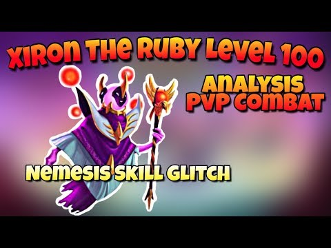 Monster Legends - Nemesis Skill Glitch - Xiron the Ruby Level 100 Analysis and PvP Combat