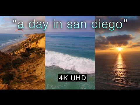 """A Day in San Diego"" 4K Nature Relaxation Video California Beaches & Sunsets"