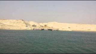 قناة السويس الجديدة : فيديو حصرى مرسي أول معدية بقناة السويس الجديدة