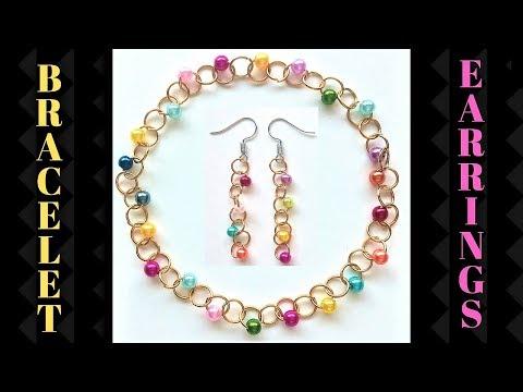 👇 👇 👇 5 MINS DIY Jump rings bracelet+earrings.  Kids craft