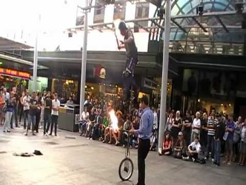 Unicycle Stunt Rider in Queen St Mall, Brisbane. 2010