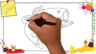 How to draw a bass fish SIMPLE, EASY & SLOWLY step by step for kids