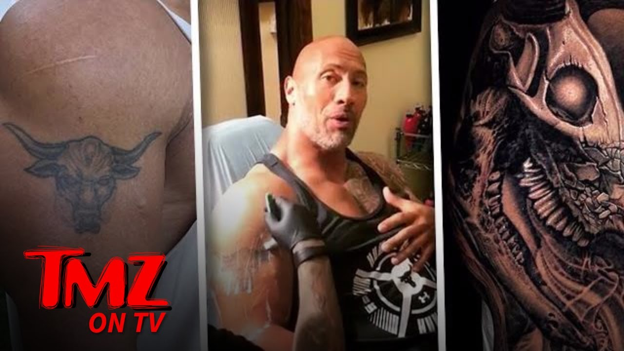The Rock New Tattoo Bull - rose tatoo