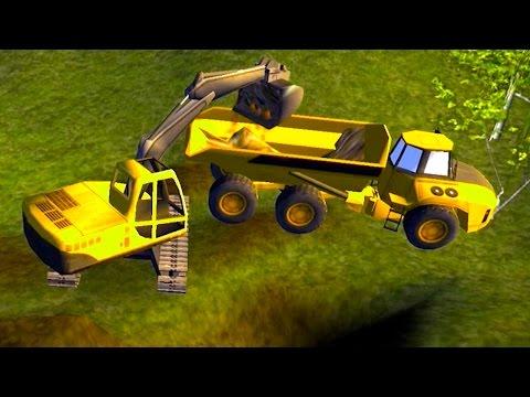 เกมส์ บรรทุก รถแม็คโคร ไปตักดิน ใส่รถบรรทุกไปดั้ม - วีดีโอสำหรับเด็ก