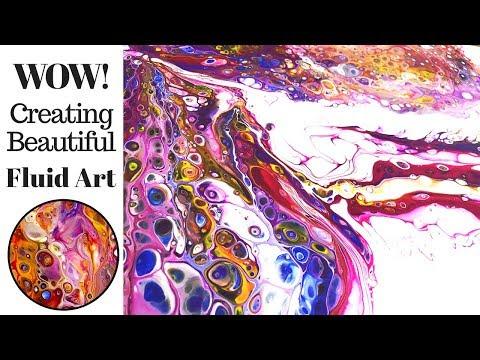 Creating AMAZING Fluid Art while Pouring Beautiful Acrylic Paints