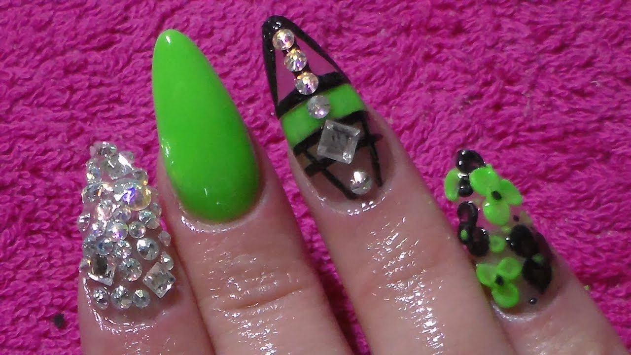Acrylic nails lime green nail art youtube prinsesfo Images