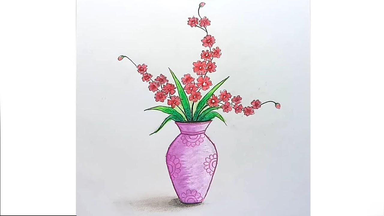 How To Draw Flower Vase Step By Step Youtube