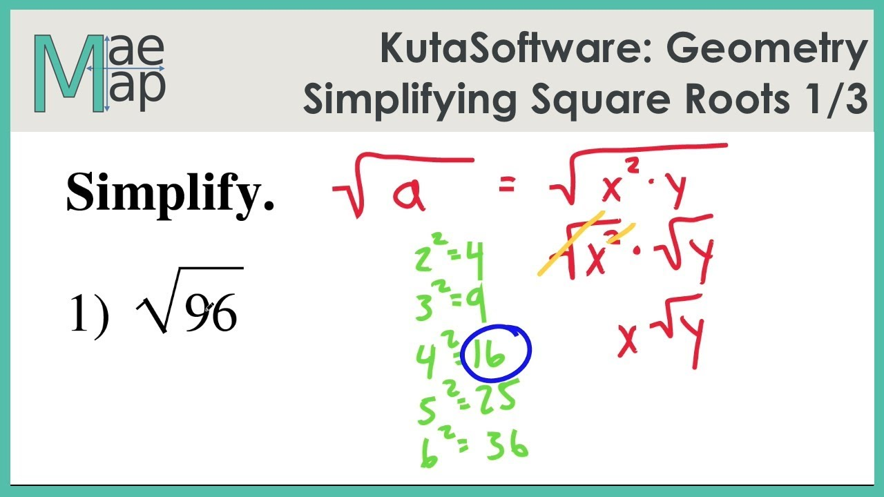 KutaSoftware: Geometry- Simplifying Square Roots Part 1
