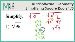 KutaSoftware: Geometry- Simplifying Sqขare Roots Part 1