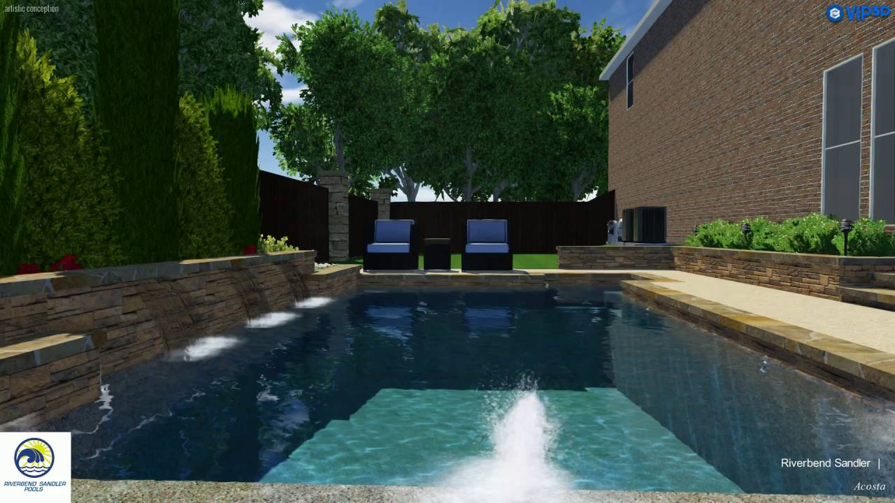 Pool Builders Frisco TX | Contemporary Pool with Water Feature Wall